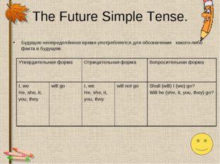 The Future Simple Tense. Будущее неопределённое время употребляется для обозн
