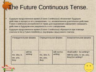 The Future Continuous Tense. Будущее продолженное время (Future Continuous) о