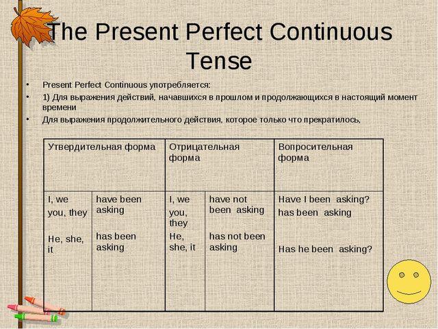 The Present Perfect Continuous Tense Present Perfect Continuous употребляется...