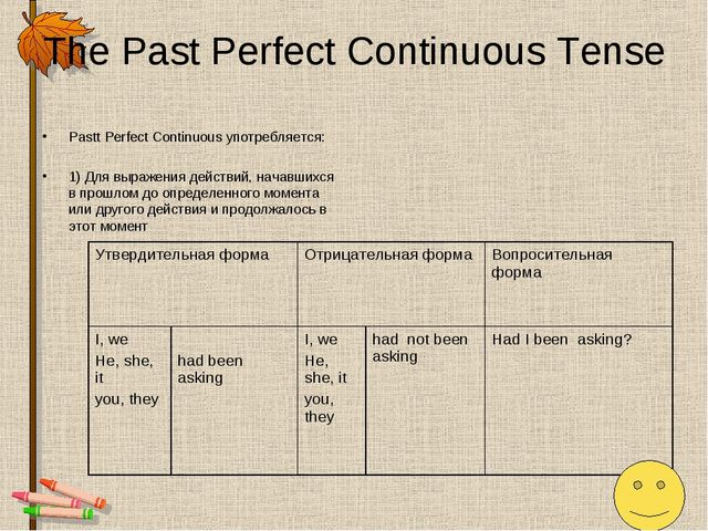The Past Perfect Continuous Tense Pastt Perfect Continuous употребляется: 1)...