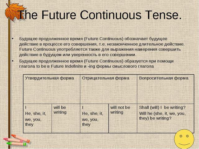 The Future Continuous Tense. Будущее продолженное время (Future Continuous) о...