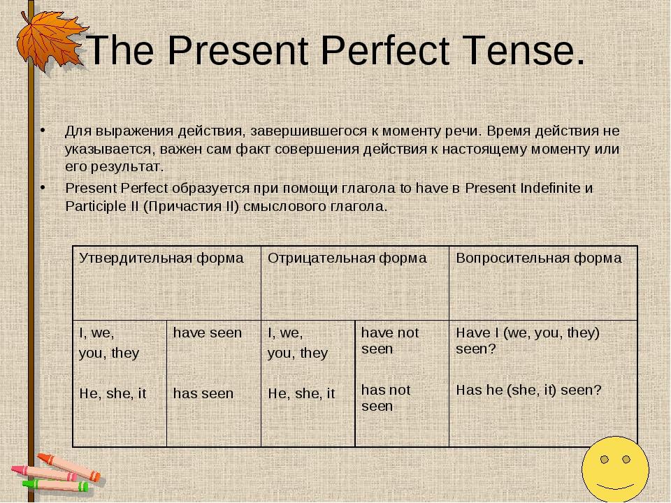 The Present Perfect Tense. Для выражения действия, завершившегося к моменту р...
