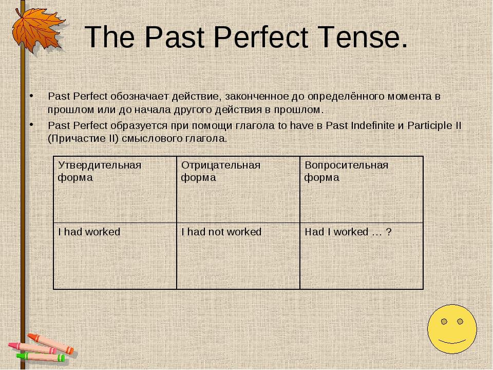 The Past Perfect Tense. Past Perfect обозначает действие, законченное до опре...
