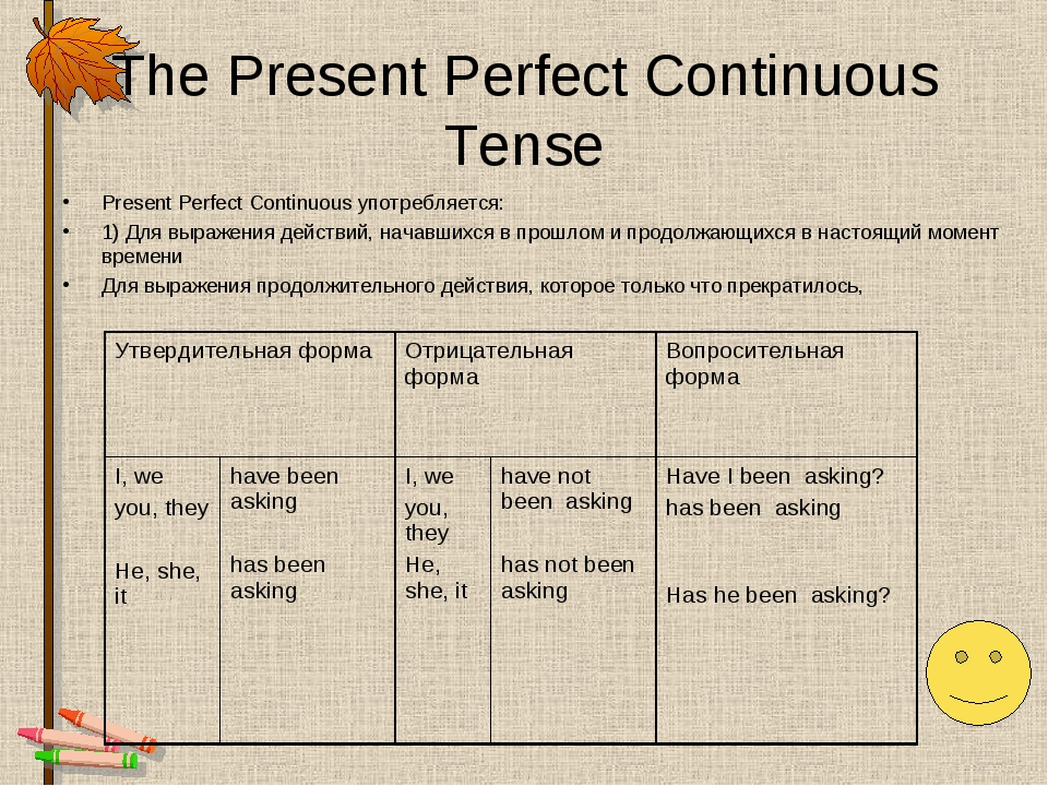The Present Perfect Continuous Tense Present Perfect Continuous употребляется...