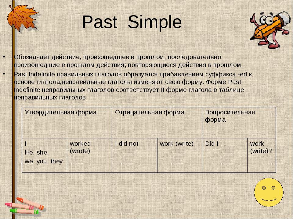 Past Simple Обозначает действие, произошедшее в прошлом; последовательно прои...