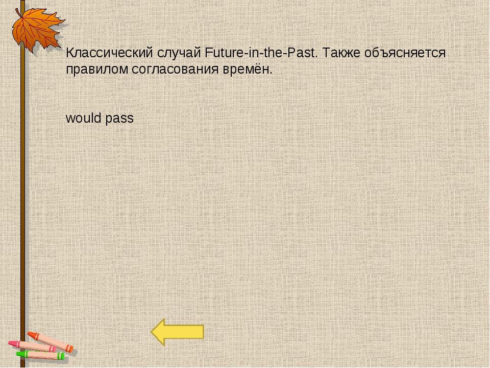 Классический случай Future-in-the-Past. Также объясняется правилом согласован...