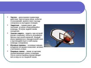 Заслон – допускаемое правилами действие, при котором игрок, избегая столкнове