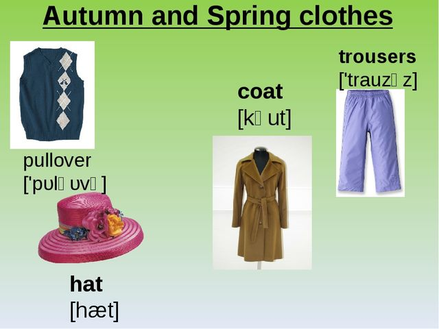 Autumn and Spring clothes pullover ['pυl̗əυvə] hat [hæt] coat [kəut] trousers...