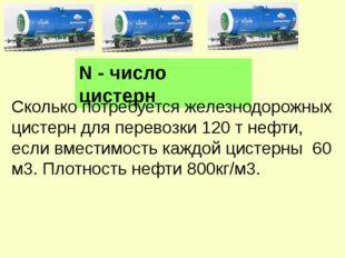 N - число цистерн Сколько потребуется железнодорожных цистерн для перевозки 1