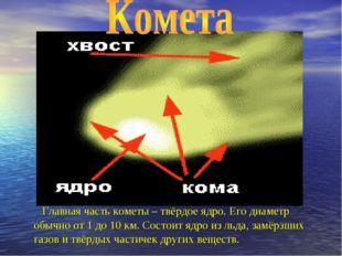 Главная часть кометы – твёрдое ядро. Его диаметр обычно от 1 до 10 км. Состо