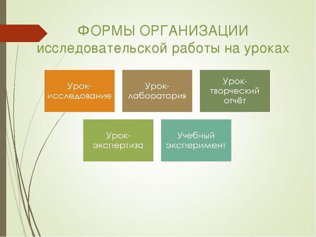 ФОРМЫ ОРГАНИЗАЦИИ исследовательской работы на уроках