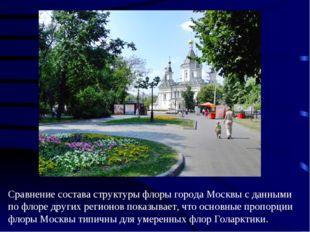 Сравнение состава структуры флоры города Москвы с данными по флоре других рег