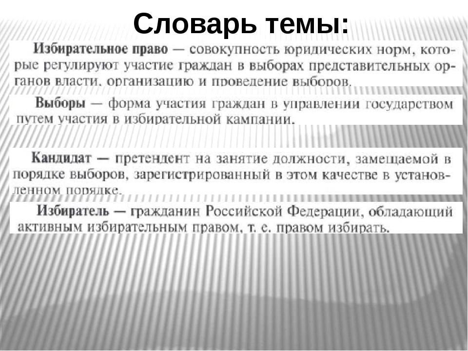 Словарь темы: