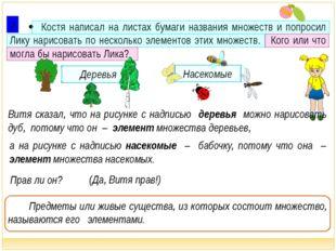  Костя написал на листах бумаги названия множеств и попросил Лику нарисоват