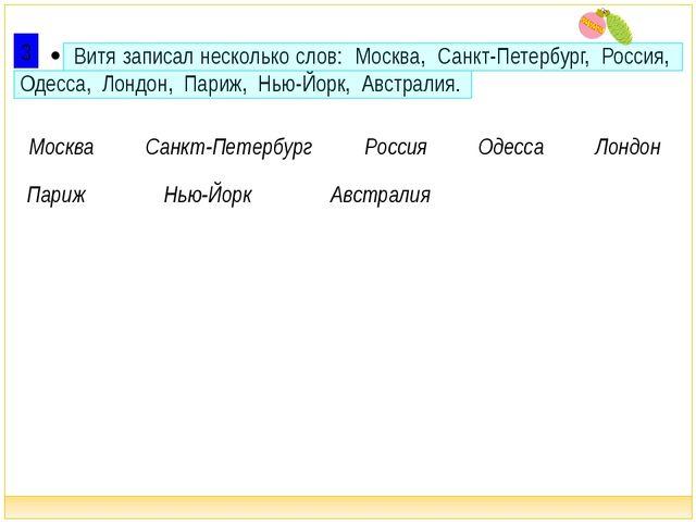  Витя записал несколько слов: Москва, Санкт-Петербург, Россия, Одесса, Лонд...