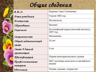 Общие сведения Ф.И..О. Надеина Анна Степановна Дата рождения 9 июля 1985 год