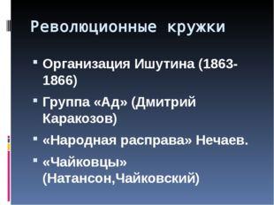 Революционные кружки Организация Ишутина (1863-1866) Группа «Ад» (Дмитрий Кар