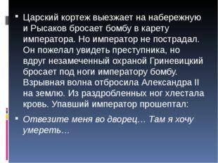 Царский кортеж выезжает на набережную и Рысаков бросает бомбу в карету импера