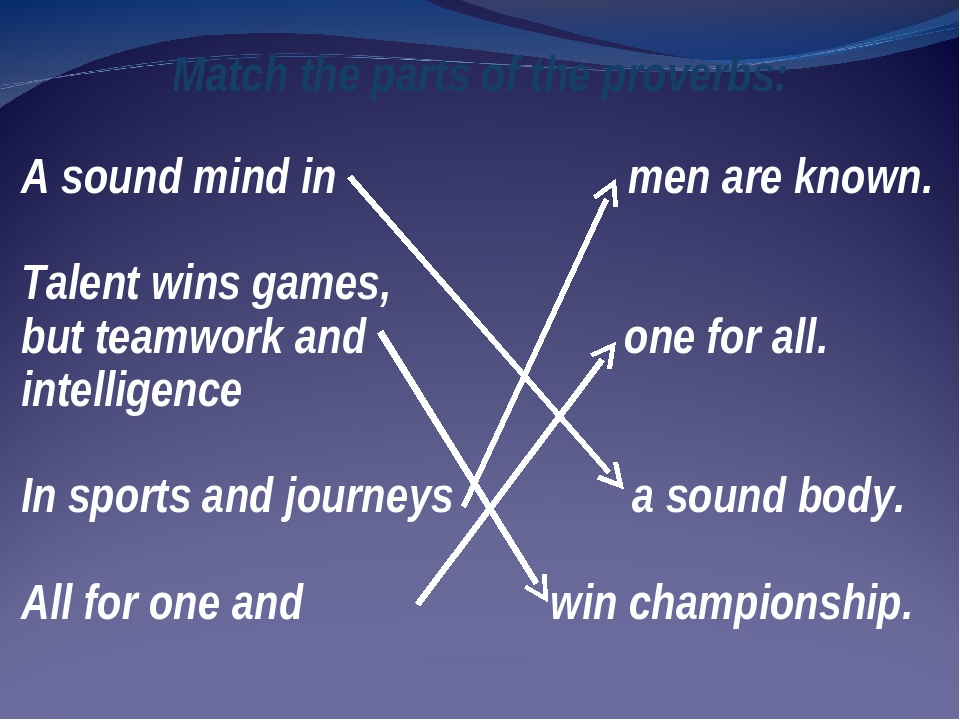 Match the parts of the proverbs: A sound mind in men are known. Talent wins g...