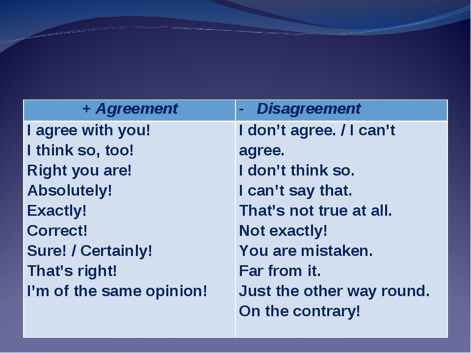 + AgreementDisagreement I agree with you! I think so, too! Right you are! Ab...