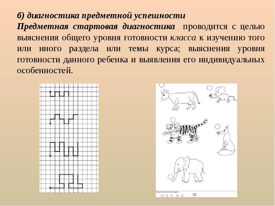 б) диагностика предметной успешности Предметная стартовая диагностика проводи...