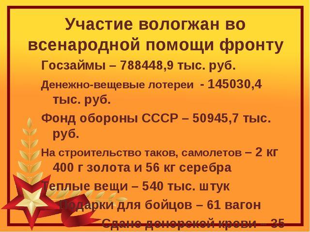 Участие вологжан во всенародной помощи фронту Госзаймы – 788448,9 тыс. руб. Д...