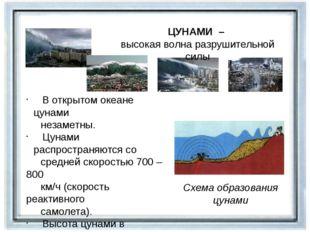 ЦУНАМИ – высокая волна разрушительной силы Схема образования цунами В открыто