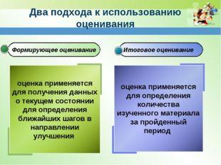 Формирующее оценивание Итоговое оценивание Два подхода к использованию оценив