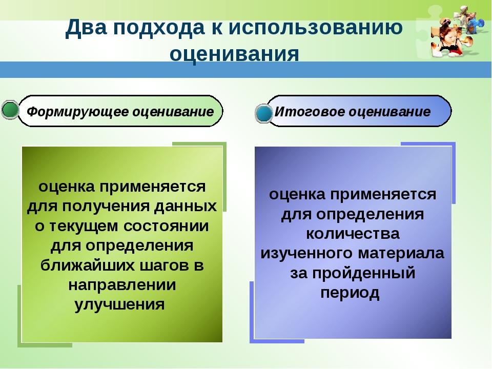 Формирующее оценивание Итоговое оценивание Два подхода к использованию оценив...