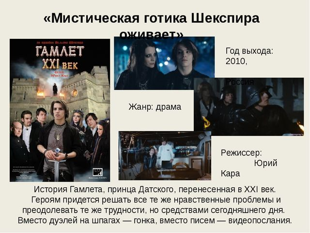 История Гамлета, принца Датского, перенесенная в XXI век. Героям придется реш...