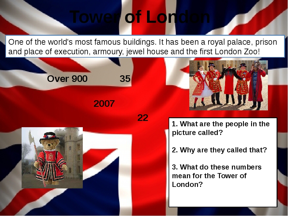 Tower of London Over 900 35 22 2007 1. What are the people in the picture cal...