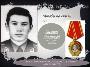 Чтобы помнили… Хамит Нафиков 20.12. 1960 – 15.08.1984 ПОКА ЖИВЫЕ ПОМНЯТ ПАВШИ