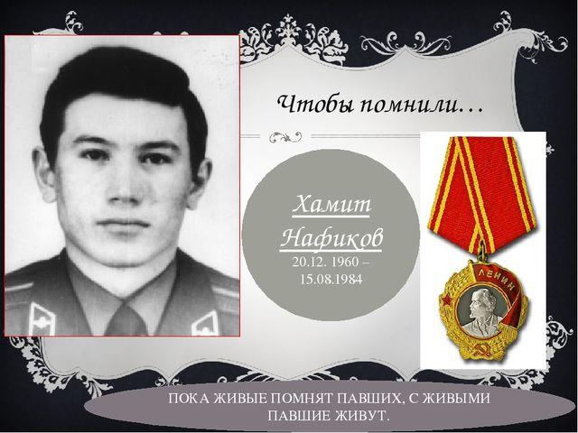 Чтобы помнили… Хамит Нафиков 20.12. 1960 – 15.08.1984 ПОКА ЖИВЫЕ ПОМНЯТ ПАВШИ...