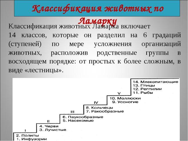 Классификация животных по Ламарку Классификация животных Ламарка включает 14...