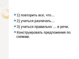 1) повторить все, что… 2) учиться различать… 3) учиться правильно … в речи,