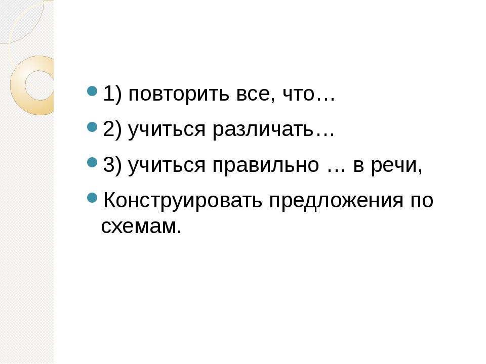 1) повторить все, что… 2) учиться различать… 3) учиться правильно … в речи,...