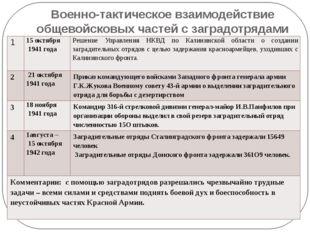 Военно-тактическое взаимодействие общевойсковых частей с заградотрядами 1 15о
