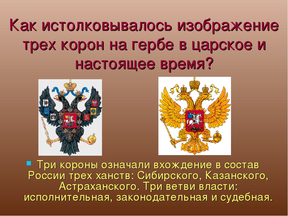 Как истолковывалось изображение трех корон на гербе в царское и настоящее вре...