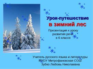 Урок-путешествие в зимний лес Презентация к уроку развития речи в 6 классе Уч