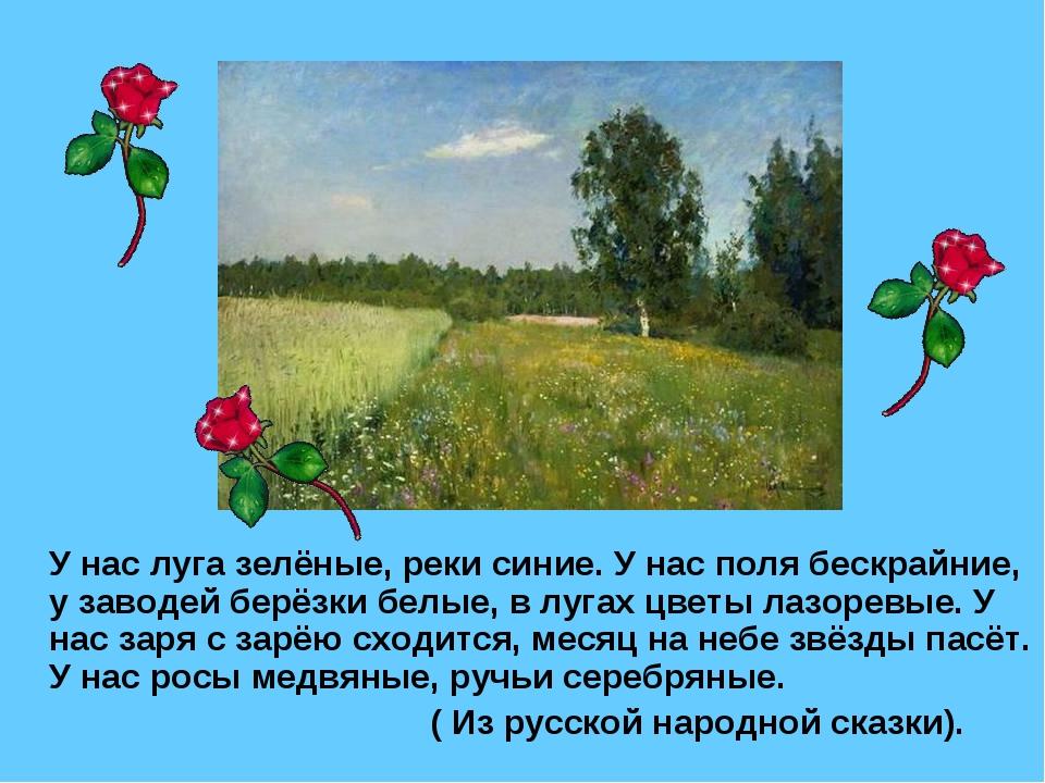 У нас луга зелёные, реки синие. У нас поля бескрайние, у заводей берёзки бел...