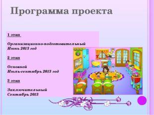 Программа проекта 1 этап Организационно-подготовительный Июнь 2013 год 2 этап