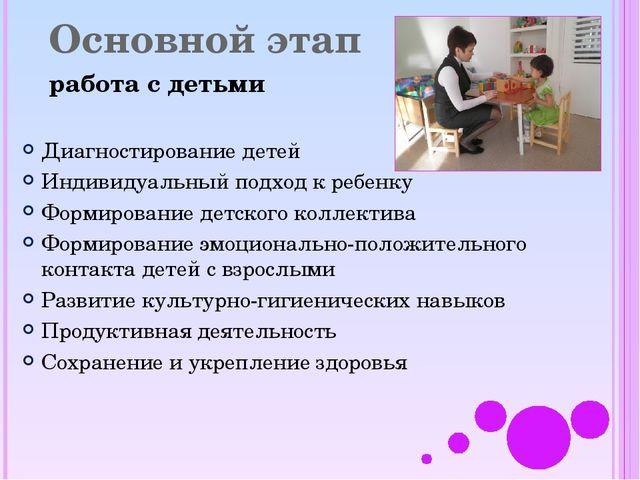 Основной этап работа с детьми Диагностирование детей Индивидуальный подход к...
