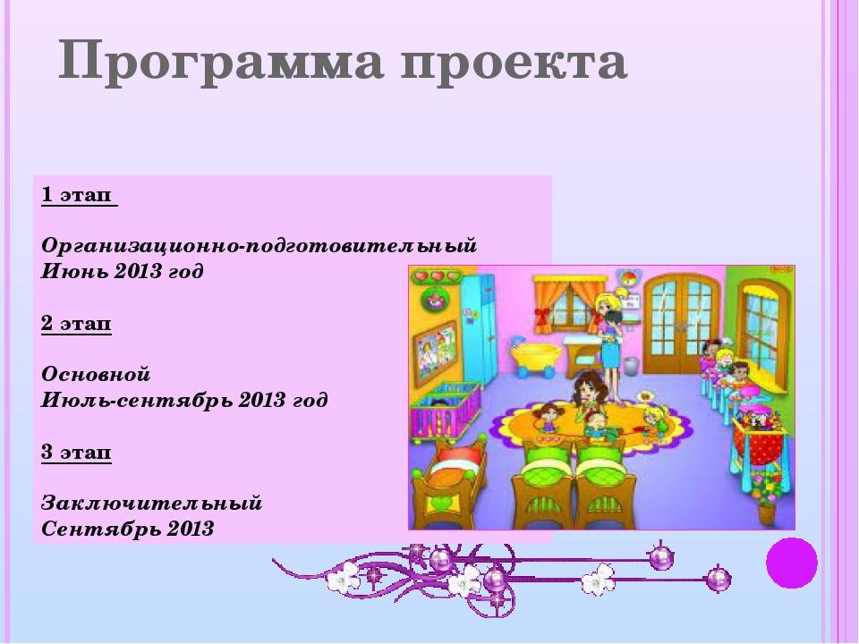 Программа проекта 1 этап Организационно-подготовительный Июнь 2013 год 2 этап...