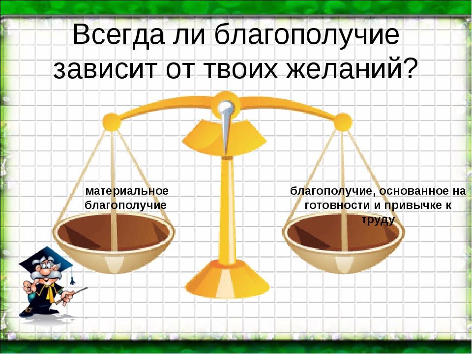 Всегда ли благополучие зависит от твоих желаний? материальное благополучие б...