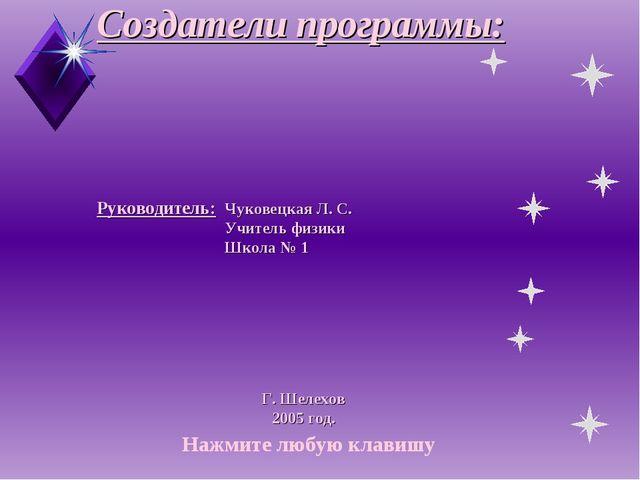 Создатели программы: Руководитель:Чуковецкая Л. С. Учитель физики Школа...