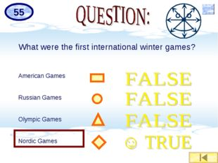 What were the first international winter games? American Games Russian Games