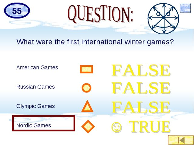 What were the first international winter games? American Games Russian Games...