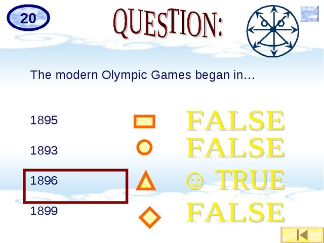 The modern Olympic Games began in… 1895 1893 1896 1899 20