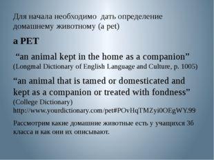 """Для начала необходимо дать определение домашнему животному (a pet) a PET """"an"""