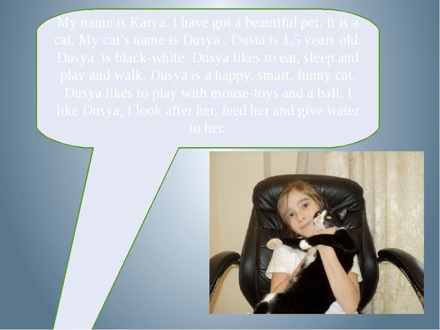My name is Katya. I have got a beautiful pet. It is a cat. My cat's name is...